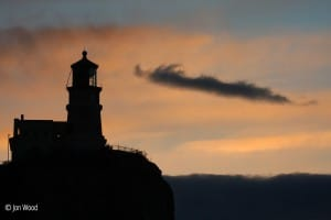 dusk at split rock lighthouse