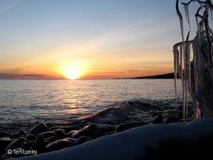 Winter sun over Lake Superior