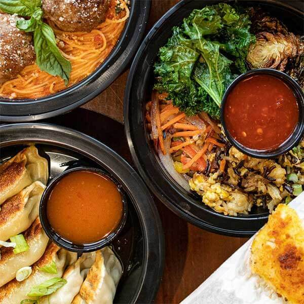 dumplings, pasta and veggie takeout from grand superior grill near gooseberry