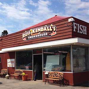 outside of russ kendall's smoked fish shop along scenic 61