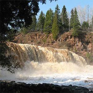 crashing waterfalls at gooseberry falls state park