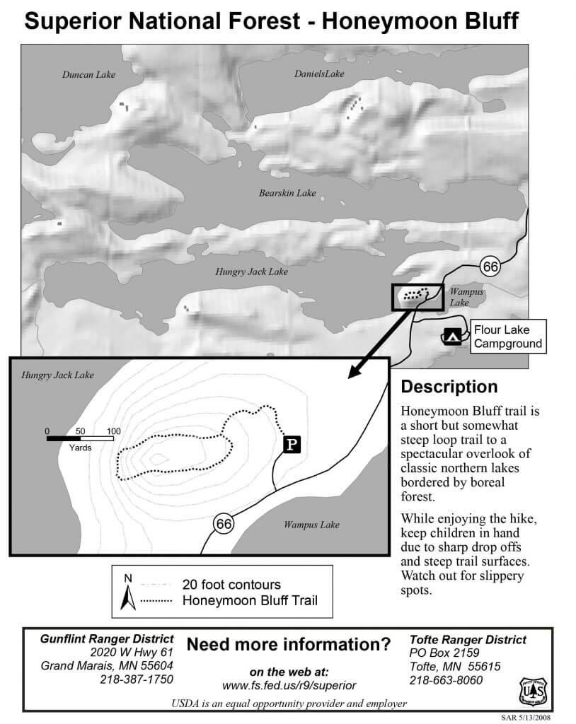 honeymoon bluff gunflint trail mn trail map