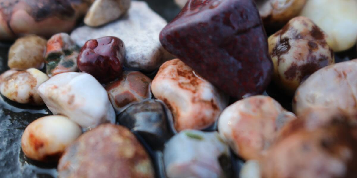Agates and beach stones up close