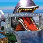 cartoon whale and aerial lift bridge