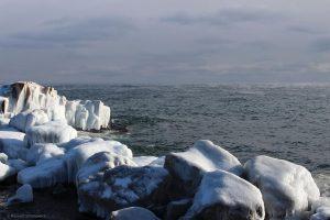 Ice-coated rocks