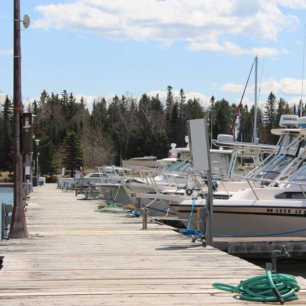 line of pleasure boats at knife river marina on lake superior in minnesota