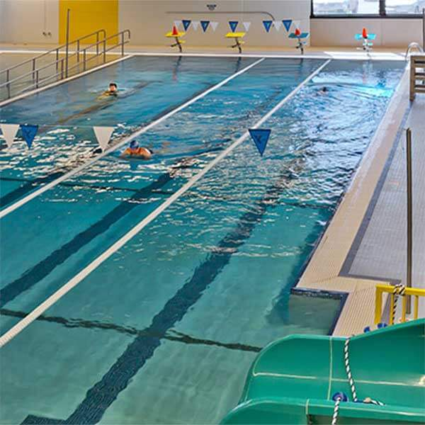 swimming pool and slide at cook county mn ymca