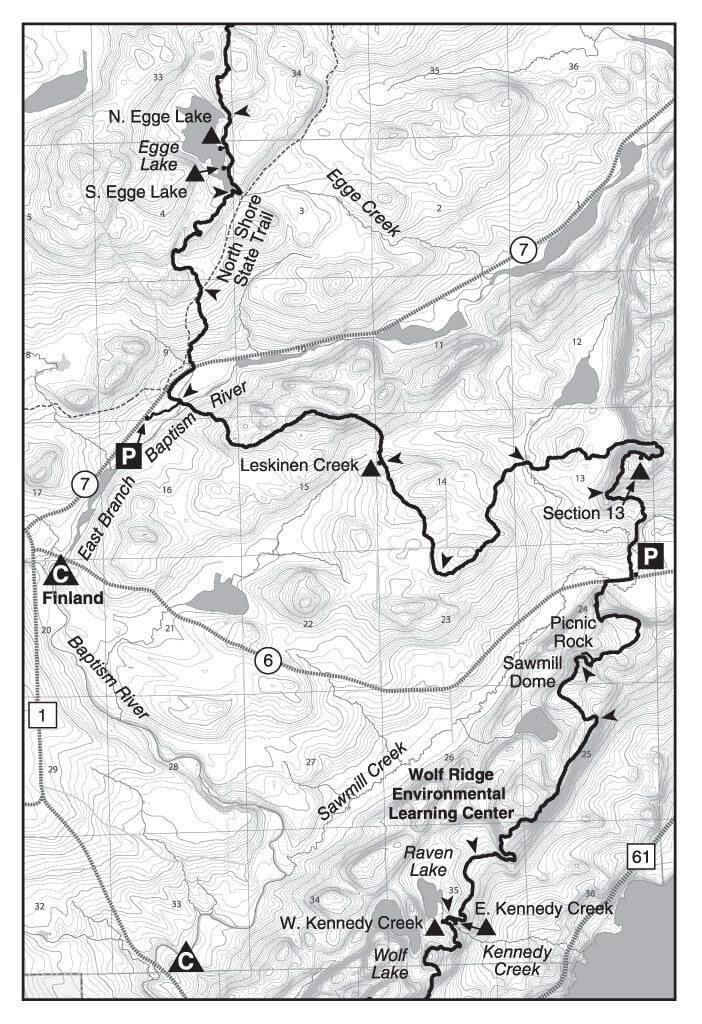 SHT trail map for section 13 little marais mn