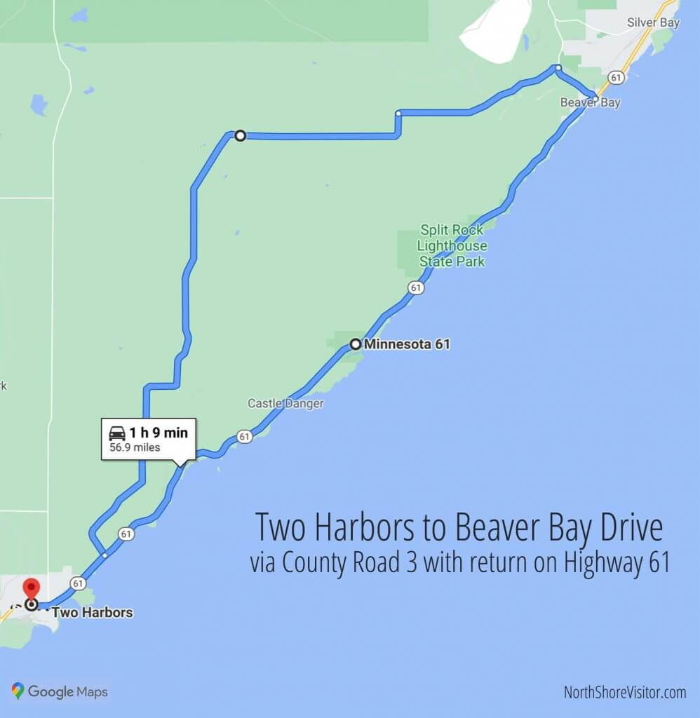 two harbors to beaver bay mn back road drive map