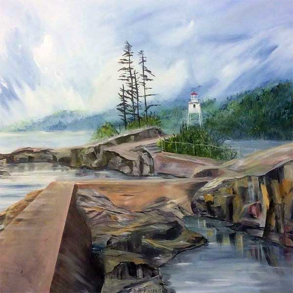 painting grand marais lighthouse approach at eight broadway gallery