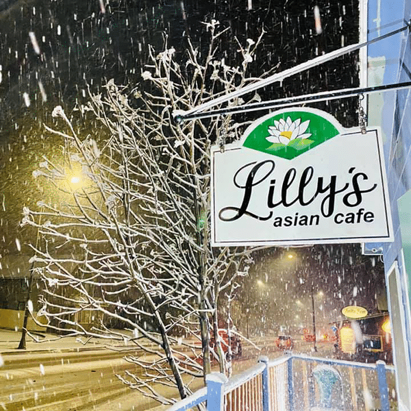 Lilly's asian cafe sign in heavy snowfall two harbors