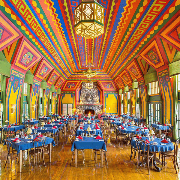 naniboujou lodge bright and colorful interior of dining room
