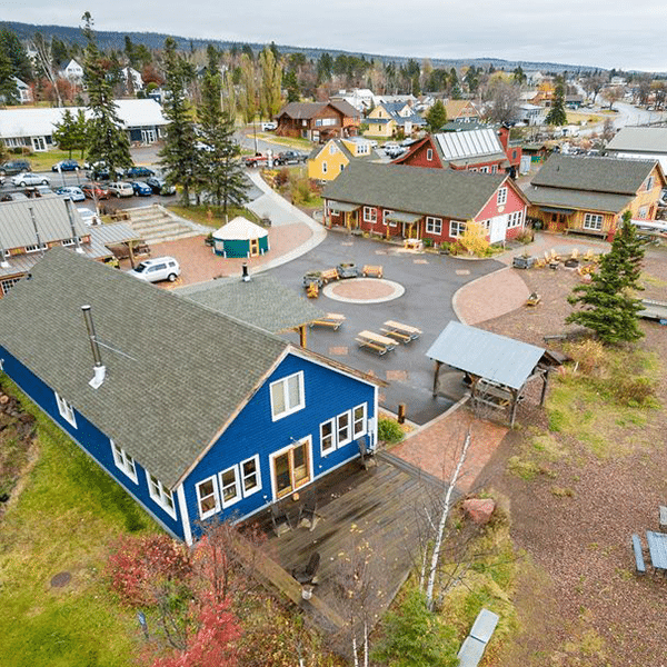 Arial shot of the campus at North House Folk School