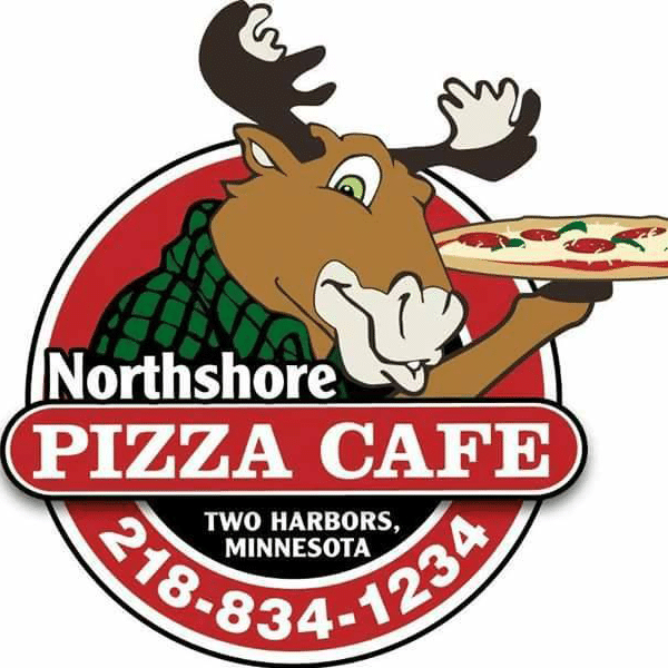 northshore pizza cafe logo moose with pizza