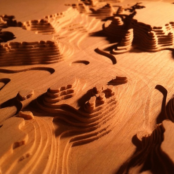 wood carved bathymetric lake map from ronnings lake carvings