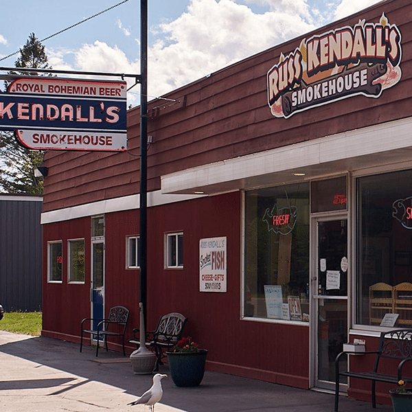 russ kendall's smokehouse storefront and seagull