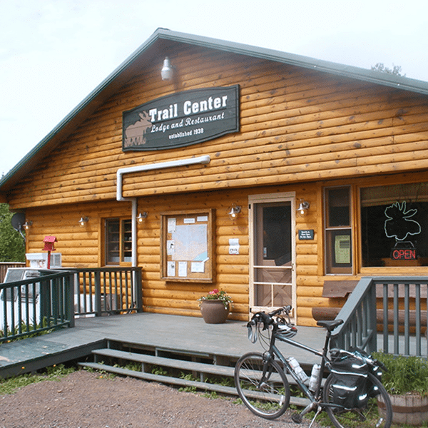 trail center storefront sign and bicycle