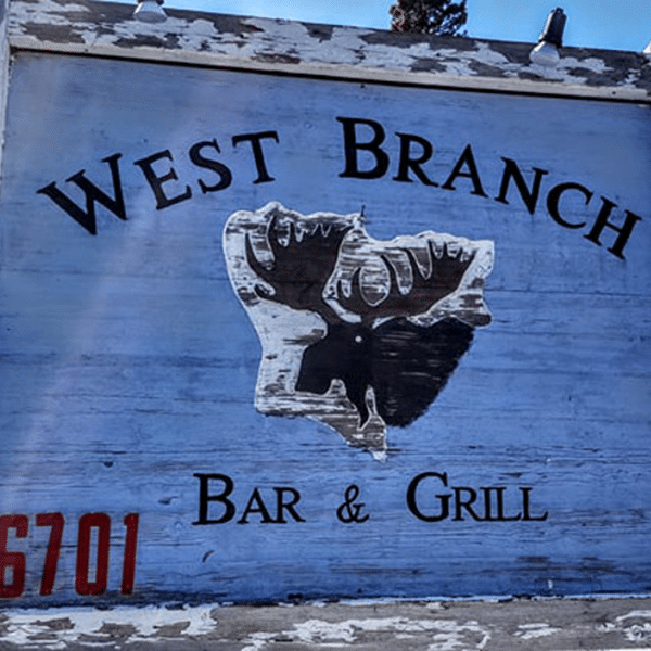 west branch sign with moose