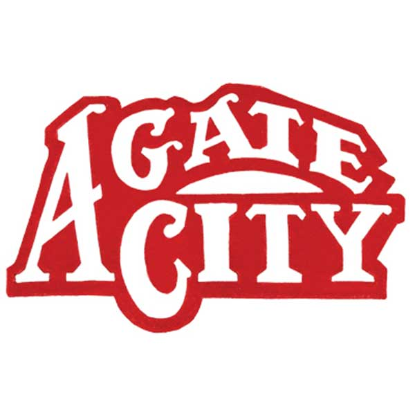 Agate city in white text with red outline