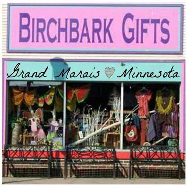 Northwoods cheerful window display at birchbark gifts