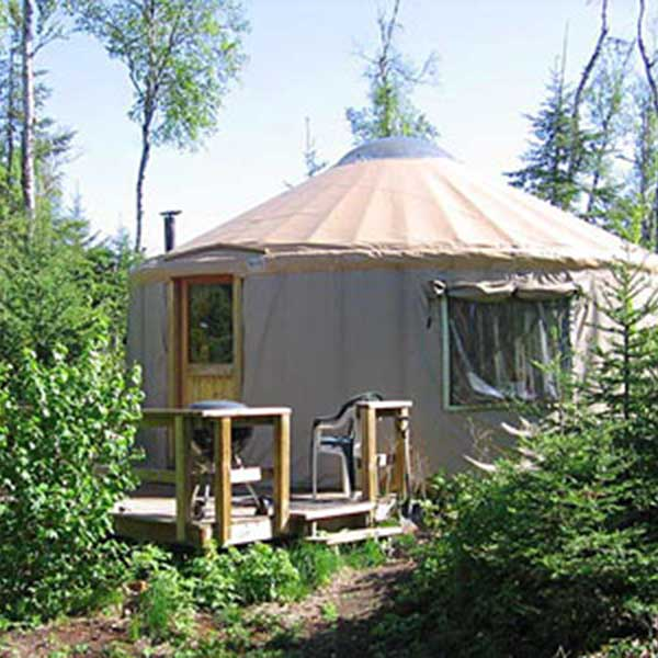 a yurt in the forest at boundary country trekking