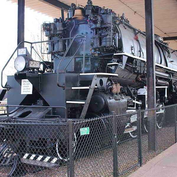 historic steam locomotive parked at the lake county historical society
