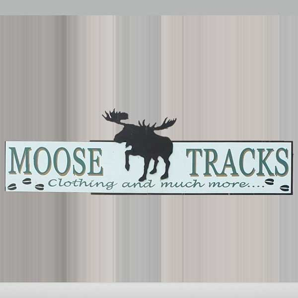Profile of Bull Moose on moose tracks clothing sign