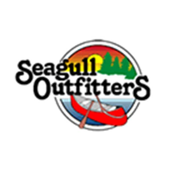 Graphic of red canoe Green Pines and sunrise Seagull outfitters