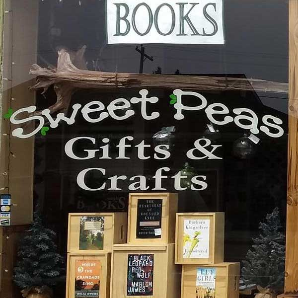 Front window of sweet peas gifts crafts and books