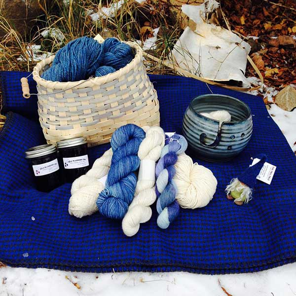 Handmade basket jelly and hand dyed yarn at tall tale basket shop Toftey