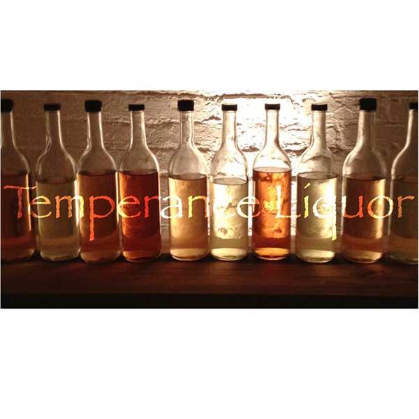 Line of liquor bottles temperance liquor