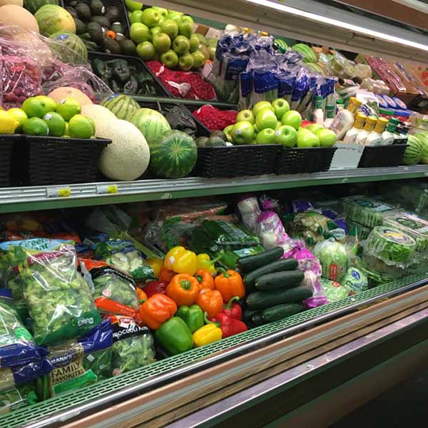 Colorful produce at Tofte General store in bottle shop