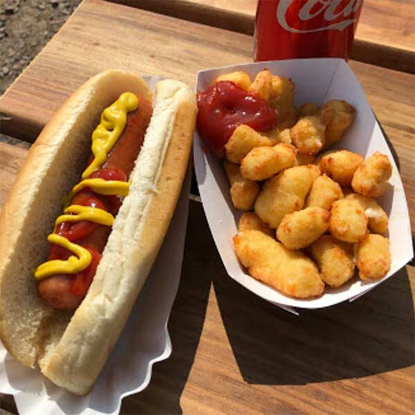 hot dog and cheese curds fron lunch box food truck grand marais mn