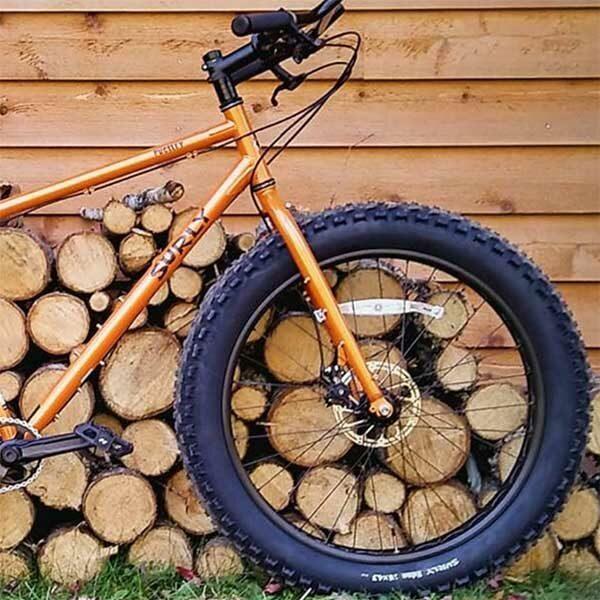 mountain bike in front of split logs