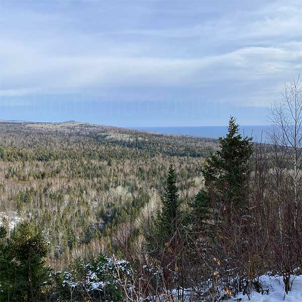 view across valley to lake superior from lookout mountain lutsen mn
