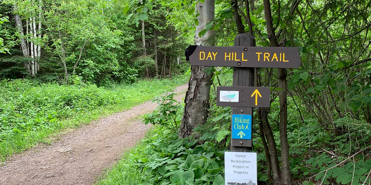 dirt trail into the woods at split rock lighthouse