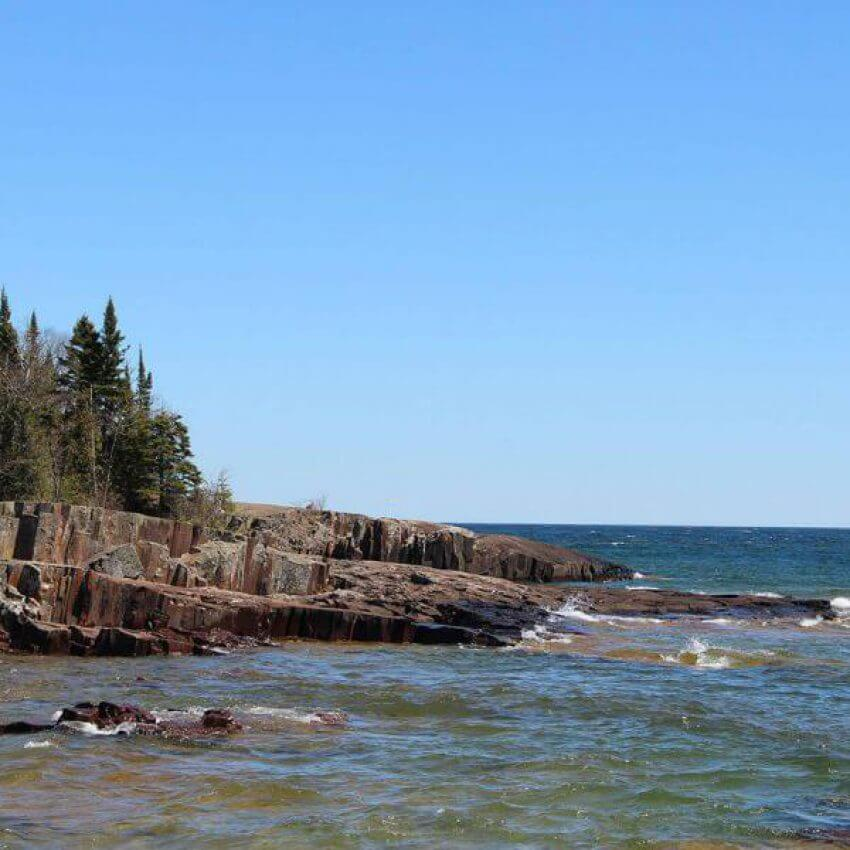 rock outcroppings from artists point island in lake superior