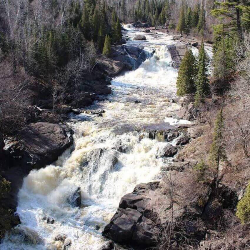 huge waterfalls of beaver river seen from highway 61 in beaver bay mn