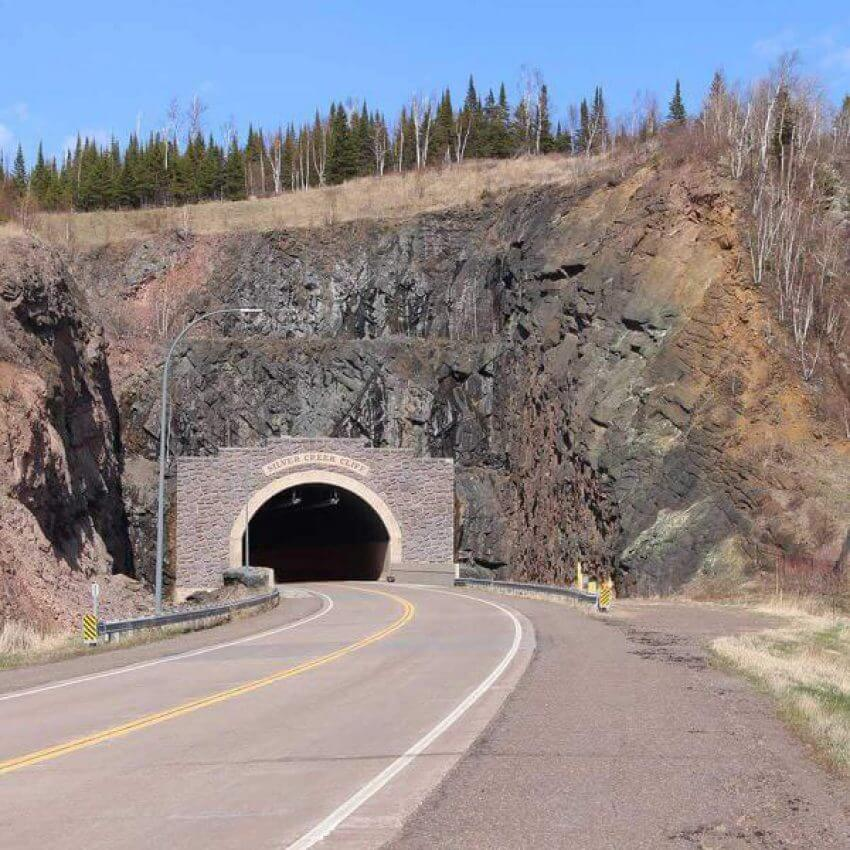 silver creek tunnel and cliff on highway 61 north shore