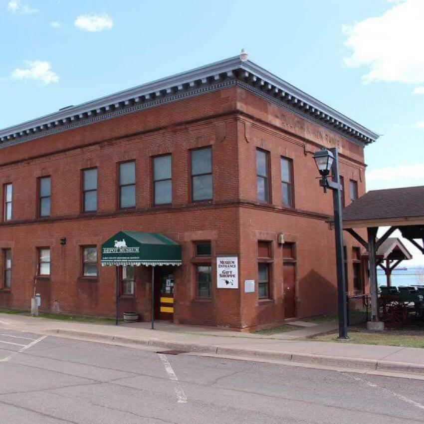 historical brick two harbors train depot building museum on lake superior