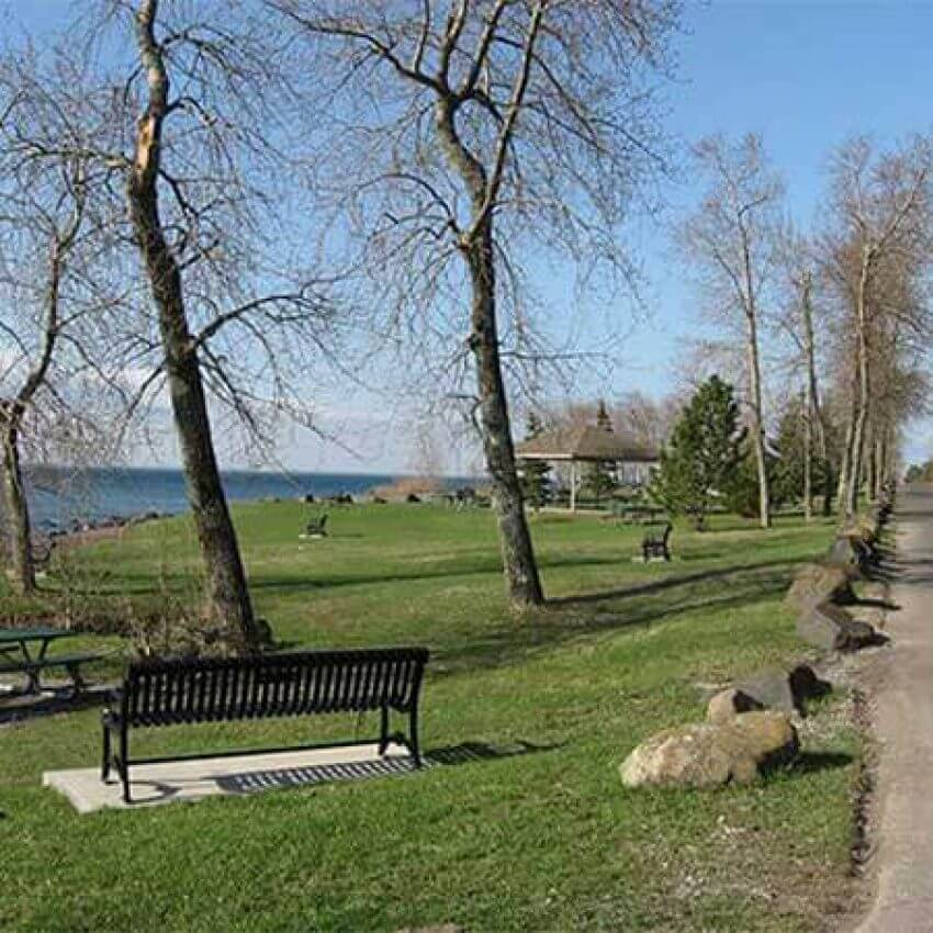 brighton beach lawn bench pavilion road on lake superior duluth mn