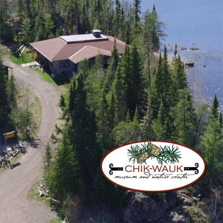 aerial view of stone chik wauk museum on saganaga lake gunflint trail