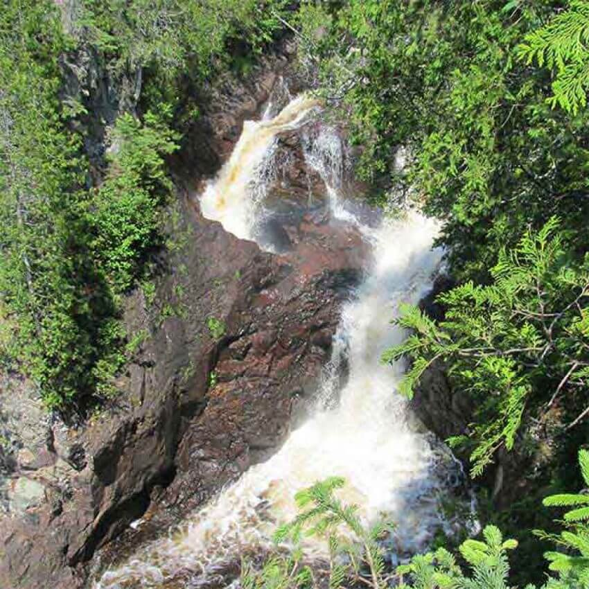 waterfalls and devils kettle water cauldron where half the river disappears