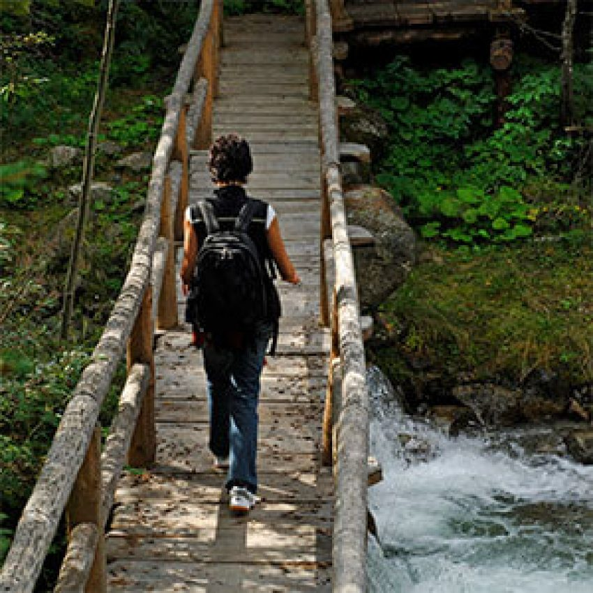 north shore hike cross river on footbridge