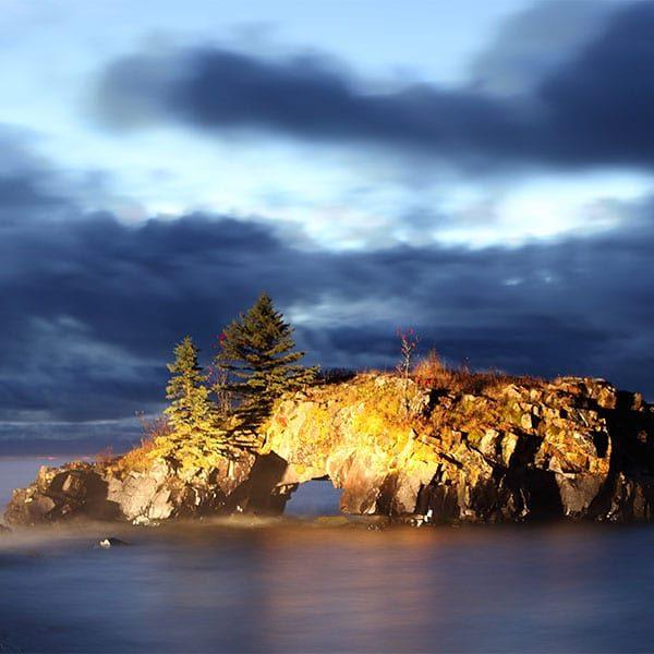 light on hollow rock grand portage lake superior