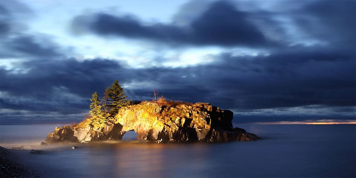 gorgeous light on hollow rock in lake superior grand portage