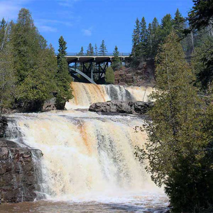 Looking up at the lower and middle falls of the Gooseberry River