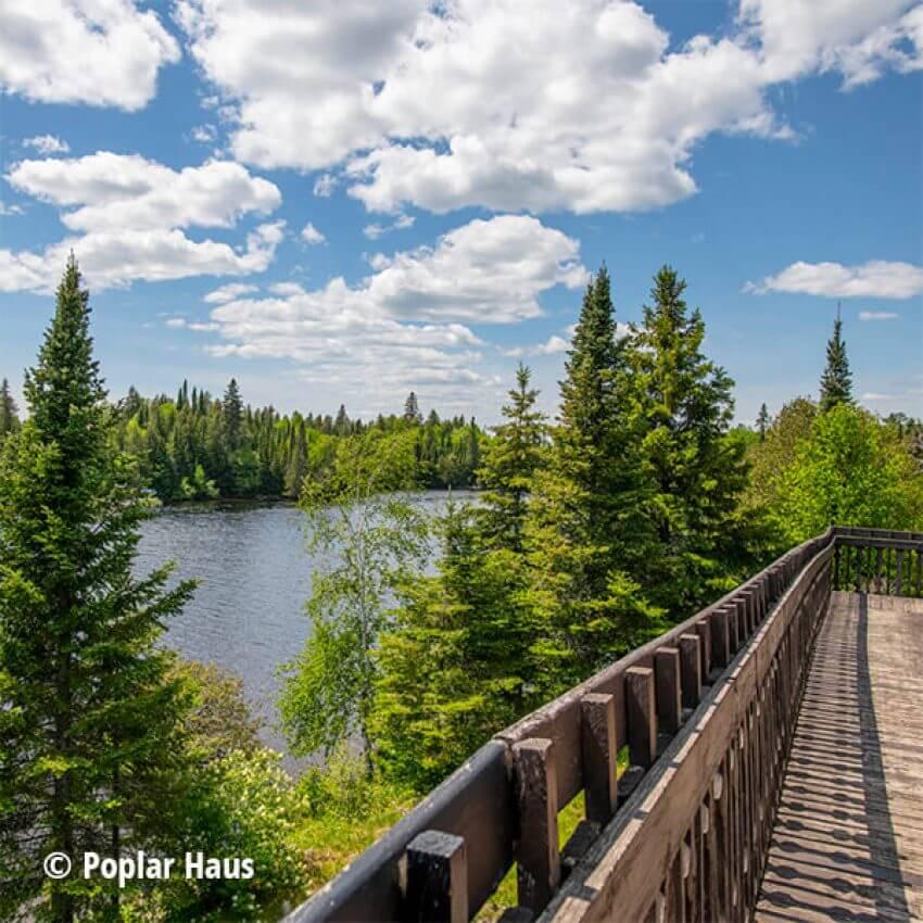 view from poplar haus deck overlooking poplar lake gunflint trail
