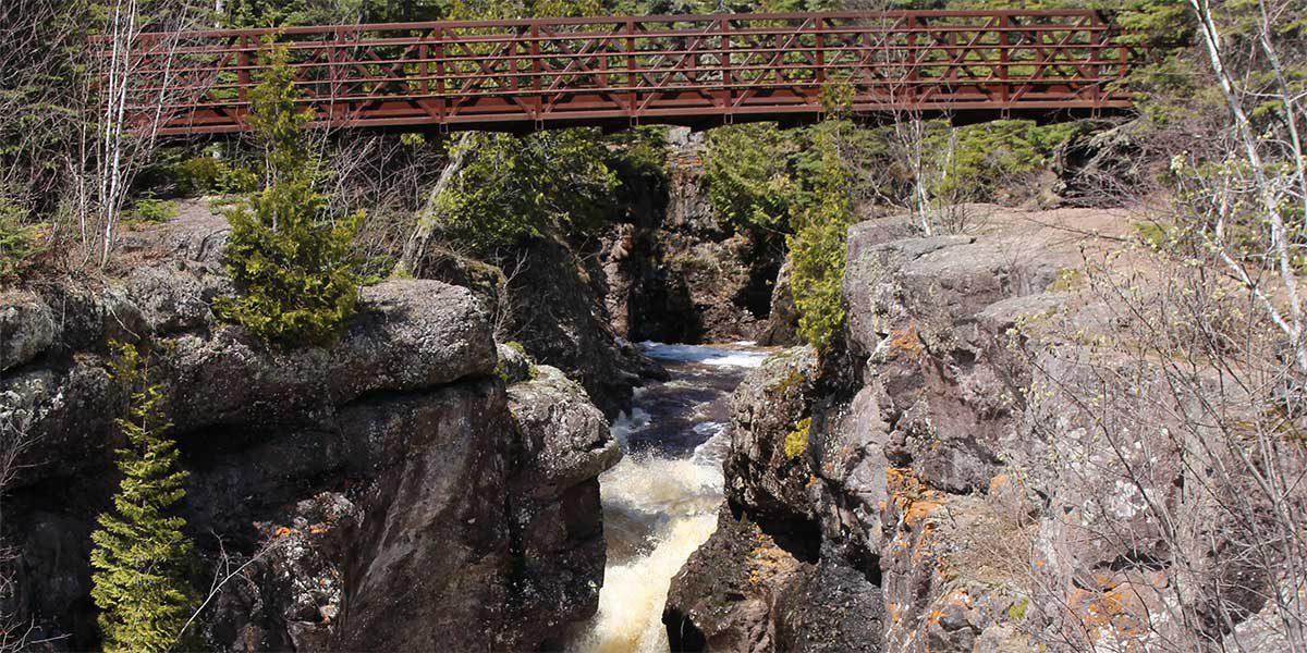Foot bridge over temperance River Falls in Schroeder/Toftey mn
