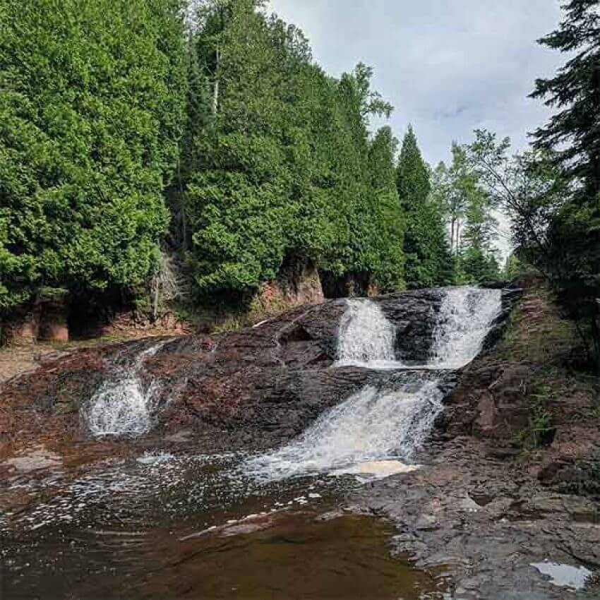 double waterfalls of the split rock river during summer water is low